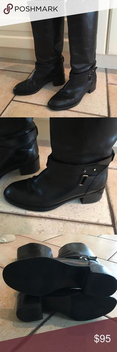 """J.Crew Black leather """"Parker"""" boot J. Crew classic riding boot 100% leather upper 100% leather lining.  """"Vacletta leather only gets better with age.""""  J. Crew must have, sold out online.  This Classic boot is designed with a double wrap leather ankle strap and goldtone stud post with  buckle hardware. Retails $358. J. Crew Shoes Winter & Rain Boots"""