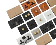 Very large range of designer toggle light switches, dimmer switches, plug sockets and USB plug sockets . Clean monchrome style to idustrial vintage style All products are availbel with the following back plate Matt black , Satin white, Brushed silver, brushed brass, Tarnished copper, Futher options For the dimmer knob is , Black, white,silver or brass For the toggle switch , Black,brushed silver,Brushed brass Plug sockets inserts part is availbale in Black & White only <strong>All swi...