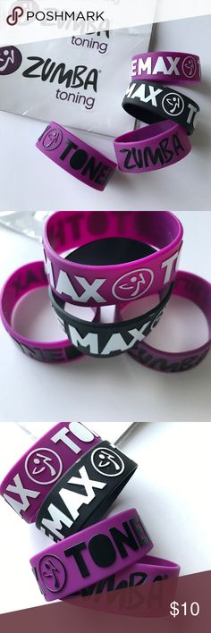 Zumba Bracelets Toned to the max- bracelets and the last one says Zumba Toning. All brand new, never worn. Adding in two Zumba stickers as well. 😊 Item from a smoke free/pet free home.  H O S T P I C K ! 5x host pick!  D I S C L A I M E R * I take reasonable offers - no low balling * I do not trade * When you bundle you save more! Zumba Jewelry Bracelets