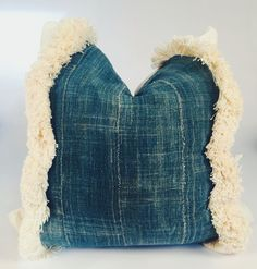 "20"" Fringe Mixed Mudcloth Pillow"