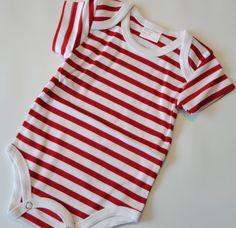 Red and White Striped Onesie Size 3 months by ellegarrettdesigns