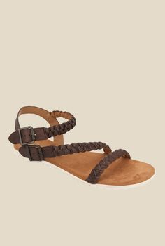 5f4e8fed767 Buy Tao Paris Attic Dark Brown Ankle Strap Sandals for Women at Best Price    Tata CLiQ