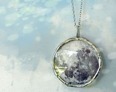 Silver Moon Necklace. Sterling Silver Rollo Chain. Full Moon Jewelry. Small. by Renata and Jonathan