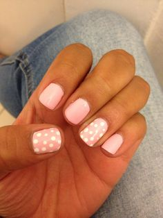 Happy spring light pink gel nail color with super shinny powder ...