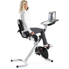 ProForm Upright Desk Bike, Black. StepThru Design , Watts LED Display , 16 Resistance Levels , 250 Lb Weight Capacity. Oversized, Cushioned Seat , 14 Preset Workout Apps , iPod-Compatible Audio , 5-Year Frame Warranty and 90-Day Parts and Labor Warranty. Vertical and Horizontal Seat Adjustment , EKG Grip Pulse , Front-Mounted Transport Wheels. Large LCD Display , 12 Lb Effective Inertia-Enhanced Flywheel , Water Bottle Holder. Assembled Product Dimensions (L x W x H) 45.27 x 14.96 x 8.66...