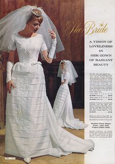 The Bride: A Vision of Loveliness (Touch of Retro) Tags: wedding woman white fashion vintage bride veil dress catalog sixties 1964 Vestidos Vintage, Vintage Dresses, Vintage Outfits, Vintage Fashion, Bridal Skirts, Bridal Gowns, Wedding Gowns, Vintage Wedding Photos, Vintage Bridal