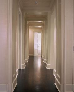 Jutting columns in a long hallway