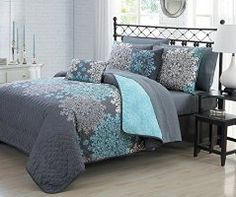 Geneva Home Fashion 9 Piece Amber Quilt in a Bag Set, King, Aqua