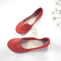 Geranium Red Soft Suede Handmade Oxfords Shoes par elehandmade