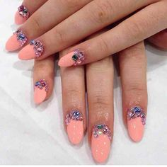Wah Nails - peach and jewel details