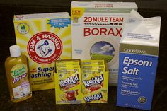 1 box of Borax (4lbs 12 oz)      1 box Arm & Hammer Super Washing Soda (55 oz)    24 packages of unsweetened lemonade drink mix (aka: Kool aid)    3 cups Epsom Salt    Lemi Shine rinse aid