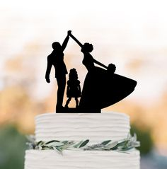 bride and groom high five Wedding Cake topper by TopperDesigner