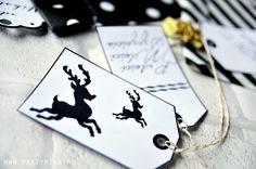 Etykietki do prezentów do druku black&white - partymika Wrapping Ideas, Playing Cards, Wraps, Christmas, Xmas, Packaging Ideas, Playing Card Games, Navidad, Noel