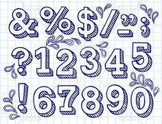 Collection of hand drawn numbers on checkered paper, 29271, download royalty-free vector clipart (EPS)