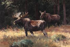 Ken Carlson (1937–Present), Morning on the Gros Ventre - Moose, 2011, oil on board, 20 x 30 in, JHAA 2011 Sold: $40,250