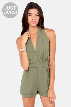 LULUS Exclusive Halt Who Goes There? Olive Green Romper at LuLus.com!