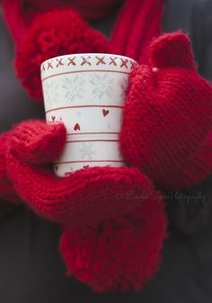 https://flic.kr/p/gVLBJ5 | Person in red gloves holding a warm beverage in a white cup on a cold winter day