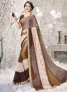 Buy Compelling Patch Border Work Brown Half N Half Saree #sarees #saree #sari #designersaree #sareebuzzlove #sareebuzz #weddingsarees #weddingfashion