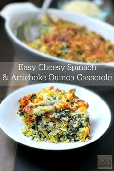 Easy Cheesy Spinach & Artichoke Quinoa Casserole (Super healthy, no can-of-cream-of-whatever, and kid approved) | KansasCityMamas.com