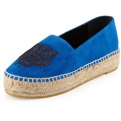 Kenzo Tiger Triple-Platform Espadrille (365 CAD) ❤ liked on Polyvore featuring shoes, sandals, bleu france, platform shoes, slip on sandals, blue shoes, kenzo espadrilles and slip on espadrilles