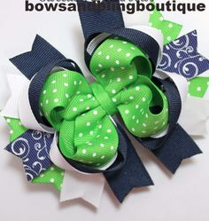 Hair bow navy and green Boutique Bows