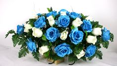 Mother's Day Blue and White Roses Silk Flower Cemetery Tombstone Saddle by Crazyboutdeco on Etsy