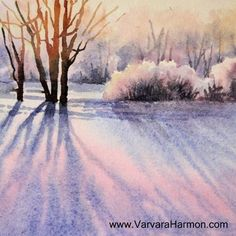 Miniature Watercolor Paintings   Yessy Home > Varvara Harmon > Mini Watercolor Painting > Winter Shadow