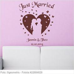 Wandtattoo Hochzeit - Verliebtes Paar in Herz