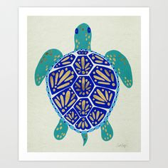 Sea Turtle Art Print by Cat Coquillette   Society6