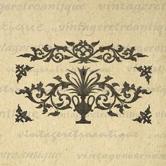 Digital Image Floral Design Download Elegant Formal Ornament Printable Graphic Jpg Png Eps 18x18 HQ 300dpi No.756 @ vintageretroantique.etsy.com