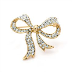 gold crystal bow ladies womens fashion dress brooch | 14579 | £11.50