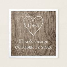 Heart with initials wood grain rustic wedding paper napkin