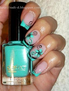 It`s all about nails: Mint French & Flowers Fabulous Nails, Gorgeous Nails, Pretty Nails, Teal Nails, Fancy Nails, Uñas Diy, Tumblr Nail Art, French Tip Nails, French Tips
