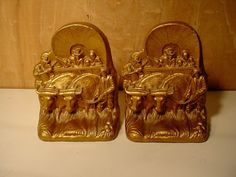 Cool Vintage Brerewood Western Stagecoach Cowboy Steer Set Bookends Book Ends listed 47.95