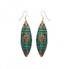 Lange Ohrringe in türkis mit altgold