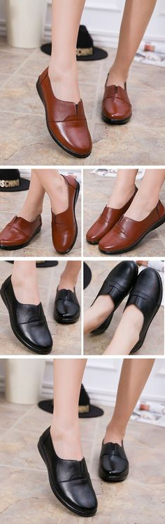 Leather Soft Sole Mother Work Shoes Flat Women Casual Shoes