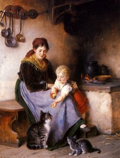 Mother and Child Feeding Cats, Rudolf Epp (German, 1834 – 1910)