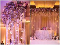 Loreal & Jay's Wedding, Ritz-Carlton Laguna Niguel | Details Details - Wedding and Event Planning, modern elegance, hanging crystals, lush floral, lavender color palette, champagne colored draping, handpainted silver and gold trees