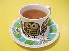 vintage owl teacup and saucer Earl Grey Benefits, Vintage Owl, Retro Vintage, Vintage Kitchen, Organic Herbal Tea, Owl Mug, Fun Cup, Cup And Saucer, Tea Time