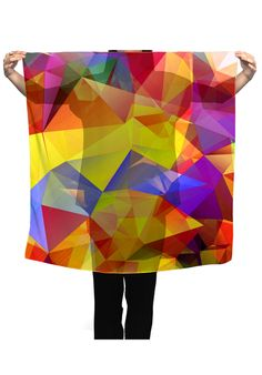 haroulita Scarf yellow polygons - JVGBD®  #scarf  #scarfs #womenaccessories #fashionista #fashionable #polygons #polygonal