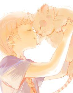 Carinho; cat and girl