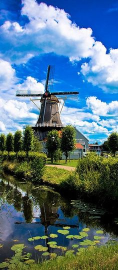 The Salamander windmill on the Vliet canal in Leidschendam, South Holland, Netherlands  photo: zilverbat #holland #windmill #travel