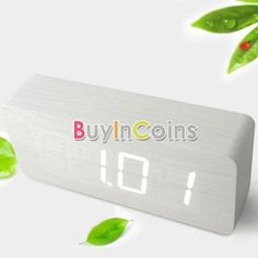 White Wood White LED Office Desk Wooden Digital Voice Alarm Clock #08 RS #BuyInCoins