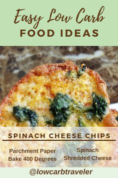 These spinach cheese chips are an easy low carb food idea. This recipe is so simple and the perfect snack during a movie instead of chips. Crispy and delicious. Atkins Recipes, Paleo Recipes, Delicious Recipes, Low Carb Recipes, Snack Recipes, Yummy Food, Steamed Spinach, Spinach Bake, Spinach And Cheese