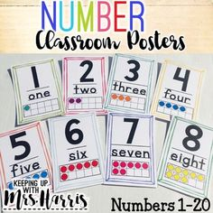 Number Classroom Display for numbers are perfect for any elementary classroom! This pack has numbers represented with tens frames. The posters are 2 to a page to save ink. These posters can be printed different sizes by changing the size or Classroom Data Wall, First Grade Classroom, 1st Grade Math, Math Class, Grade 1, Kids Math, Preschool Math, Fun Math, Classroom Activities