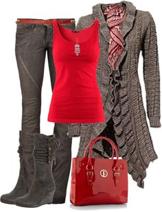 Great work and after work wear. Love the cardigan, boots & bag. The stunning red tank takes you partying thru the night!!
