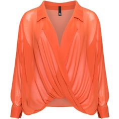 Manon Baptiste Orange Plus Size Draped chiffon blouse (14420 RSD) ❤ liked on Polyvore featuring tops, blouses, plus size, orange, red sheer blouse, chiffon blouse, sheer long sleeve top, plus size sheer blouse and plus size long sleeve tops