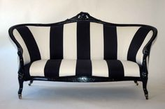 Love the shape/size and upholstery on this Art deco sette Take A Seat, Love Seat, Striped Couch, Home Furniture, Furniture Design, White Decor, Home Interior, Interior Design, Home Accessories