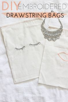 DIY to try: Adorable Embroidered Drawstring Bags!