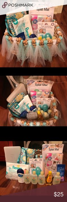 Newborn baby essential gift set basket girl or boy THE PERFECT GIFT SET!  NWT Newborn Gift Set Pack Lot of 14 Items. HANDMADE GIFT BASKET IS INCLUDED! gender neutral, This set includes: 1 NIB highchair splat mat, 1 new in package finger toothbrush for baby gums ages birth & up, 2 pack of pacifier covers in pacifier case, 5 Johnson & Johnson baby shampoos, 1 BB head to toe body wash, 1 mommy's bliss sweet slumber body wash sample, one hard Pampers baby wipes travel case, 1 soft case…